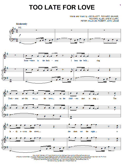 Def Leppard Too Late For Love sheet music preview music notes and score for Piano, Vocal & Guitar (Right-Hand Melody) including 7 page(s)