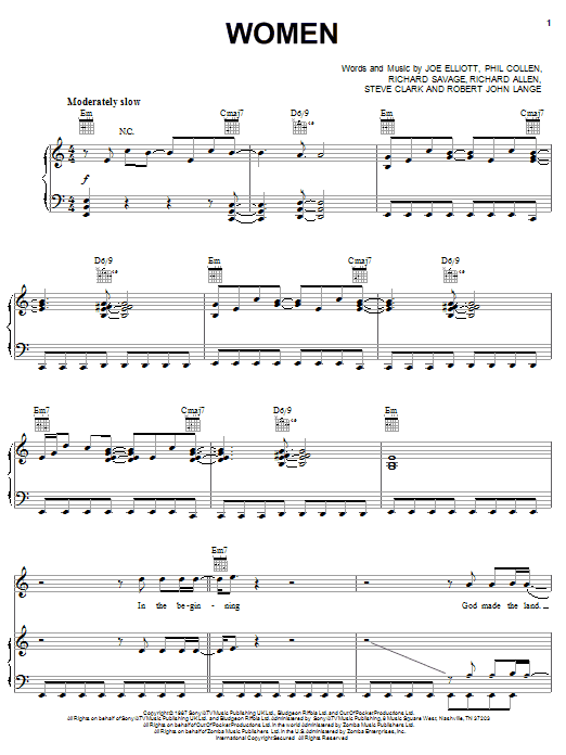 Def Leppard Women sheet music preview music notes and score for Piano, Vocal & Guitar (Right-Hand Melody) including 11 page(s)