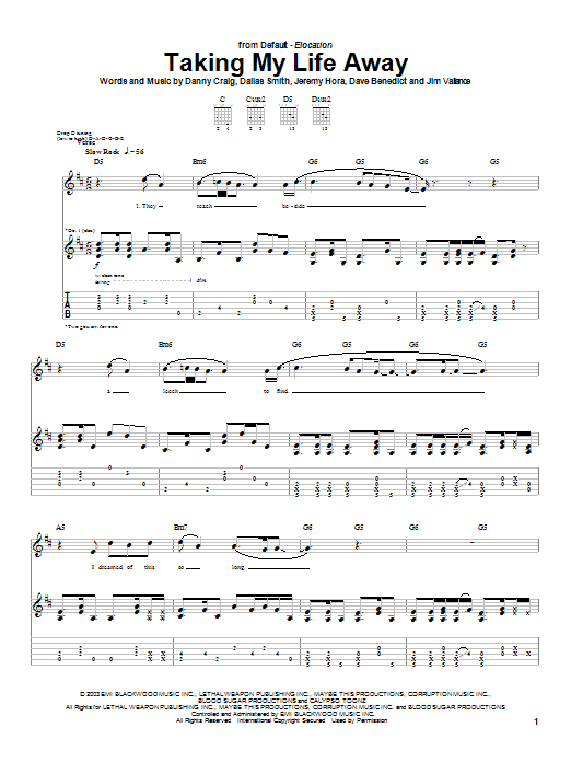Default Taking My Life Away sheet music preview music notes and score for Guitar Tab including 8 page(s)