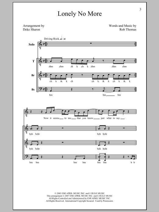 Rob Thomas Lonely No More (arr. Deke Sharon) sheet music preview music notes and score for TTBB including 9 page(s)