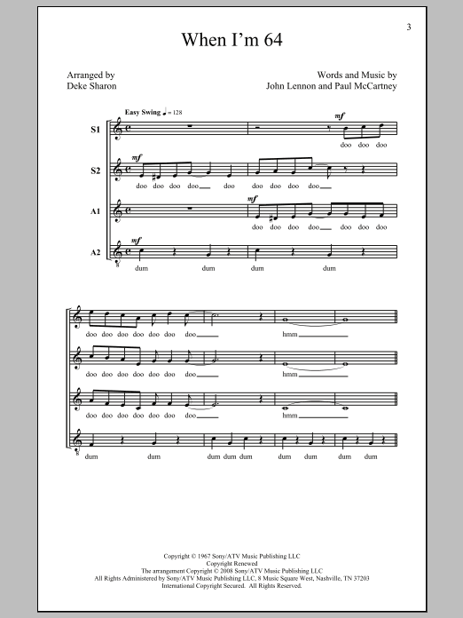 The Beatles When I'm Sixty-Four (arr. Deke Sharon) sheet music preview music notes and score for SSA including 8 page(s)