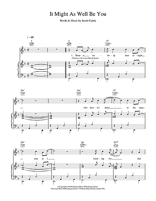 Del Amitri It Might As Well Be You sheet music notes and chords