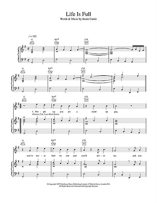 Del Amitri Life Is Full sheet music notes and chords