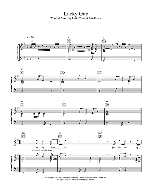 Del Amitri Lucky Guy sheet music notes and chords