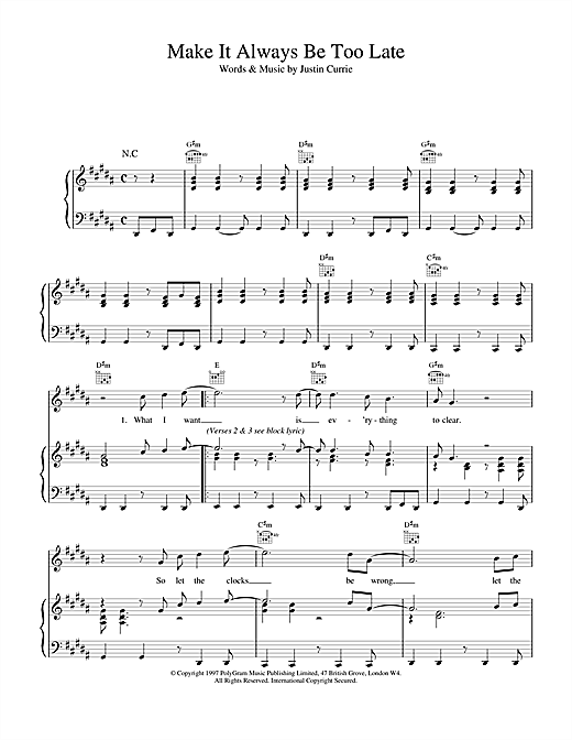 Del Amitri Make It Always Be Too Late sheet music notes and chords