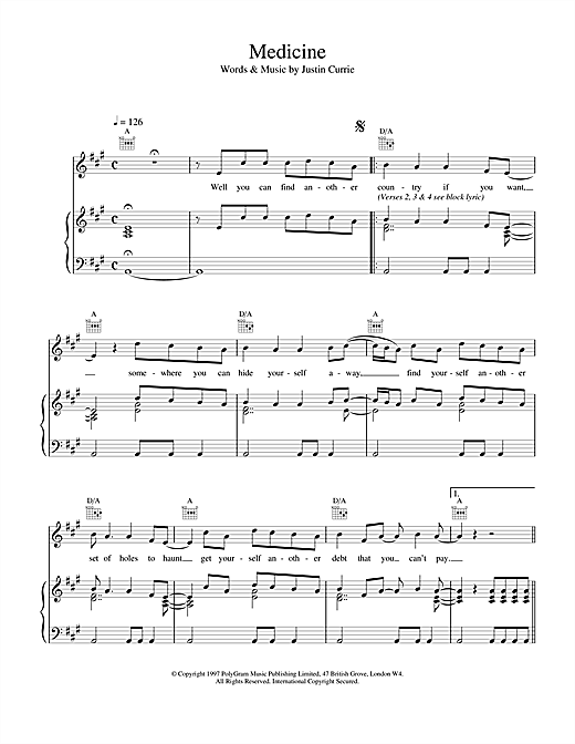 Del Amitri Medicine sheet music notes and chords