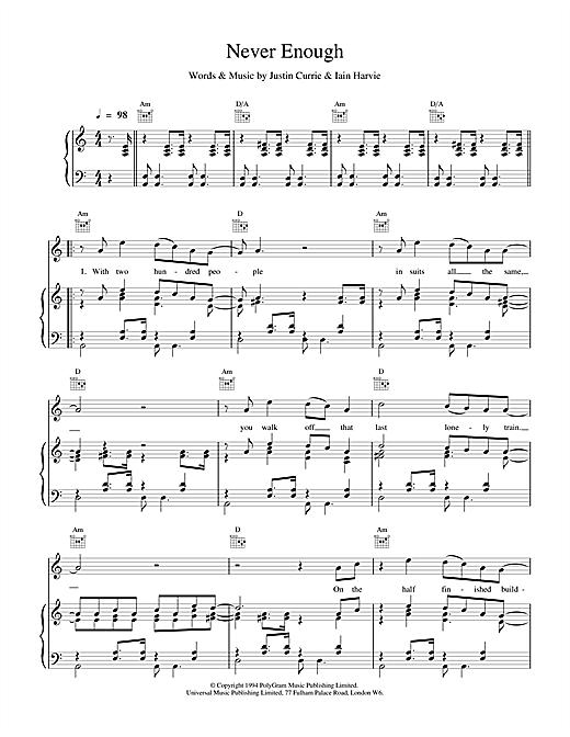 Del Amitri Never Enough sheet music notes and chords