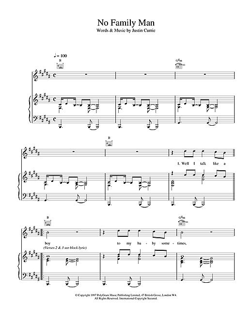 Del Amitri No Family Man sheet music notes and chords