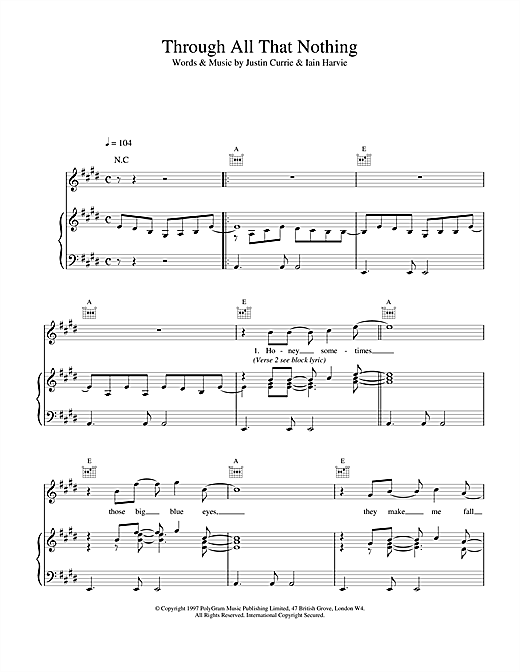 Del Amitri Through All That Nothing sheet music notes and chords