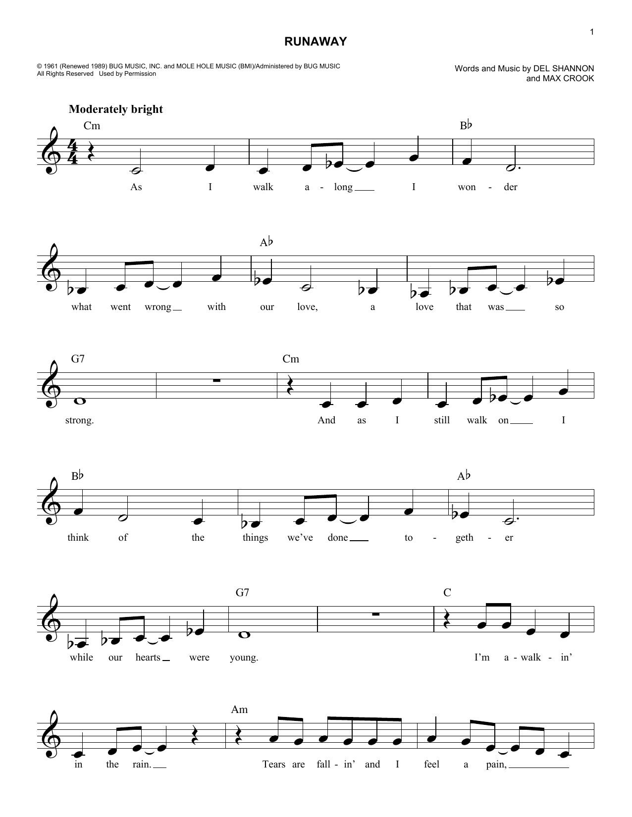 Del Shannon Runaway sheet music preview music notes and score for Guitar Tab including 5 page(s)