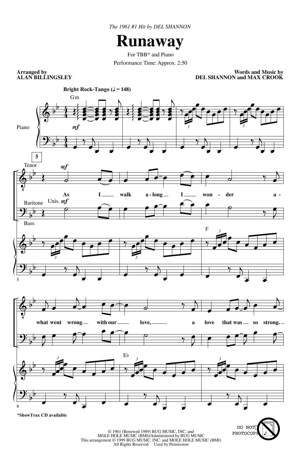 Download Del Shannon 'Runaway (arr. Alan Billingsley)' Digital Sheet Music Notes & Chords and start playing in minutes