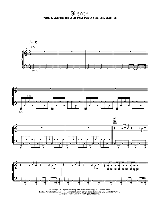 Delerium Silence sheet music notes and chords
