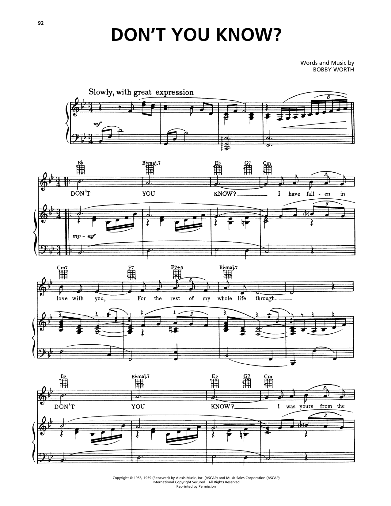 Della Reese Don't You Know? (from A Bronx Tale) sheet music preview music notes and score for Piano, Vocal & Guitar (Right-Hand Melody) including 3 page(s)