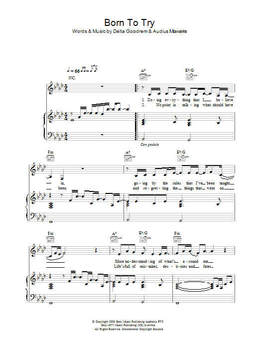 Delta Goodrem Born To Try sheet music preview music notes and score for Keyboard including 2 page(s)