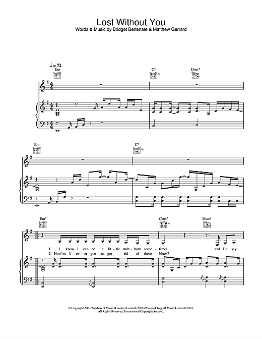 Delta Goodrem Lost Without You sheet music notes and chords