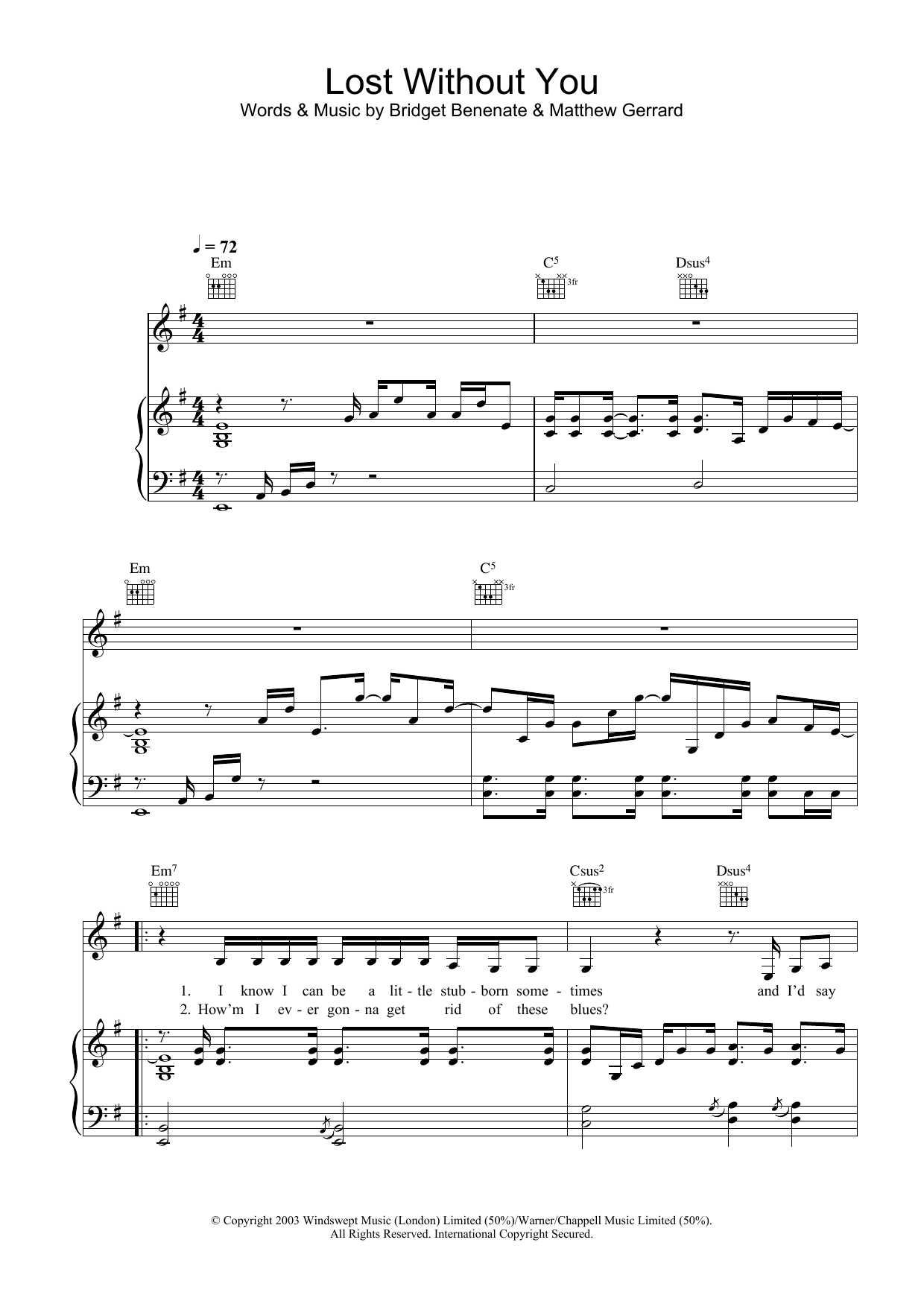 Delta Goodrem Lost Without You sheet music preview music notes and score for Melody Line, Lyrics & Chords including 2 page(s)