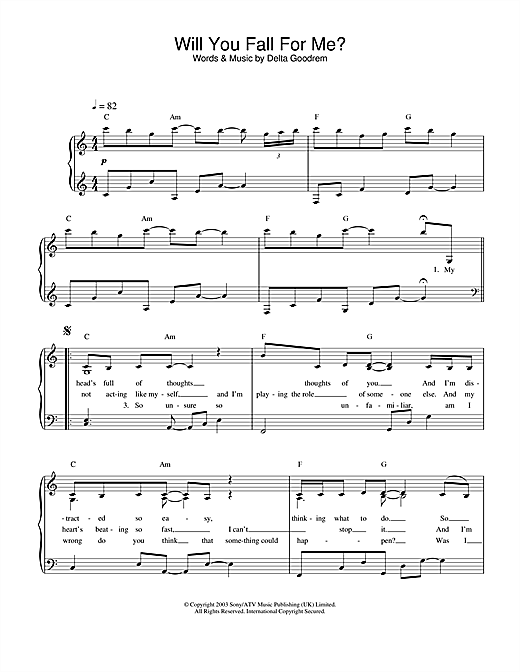Download Delta Goodrem 'Will You Fall For Me?' Digital Sheet Music Notes & Chords and start playing in minutes