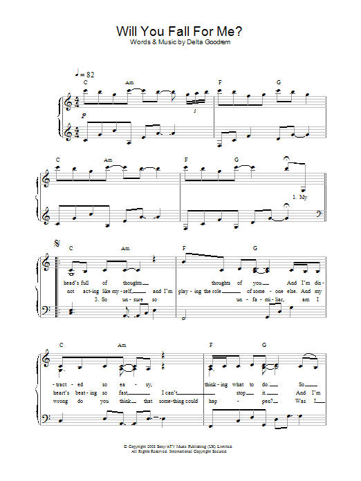 Delta Goodrem Will You Fall For Me? sheet music preview music notes and score for Piano including 4 page(s)