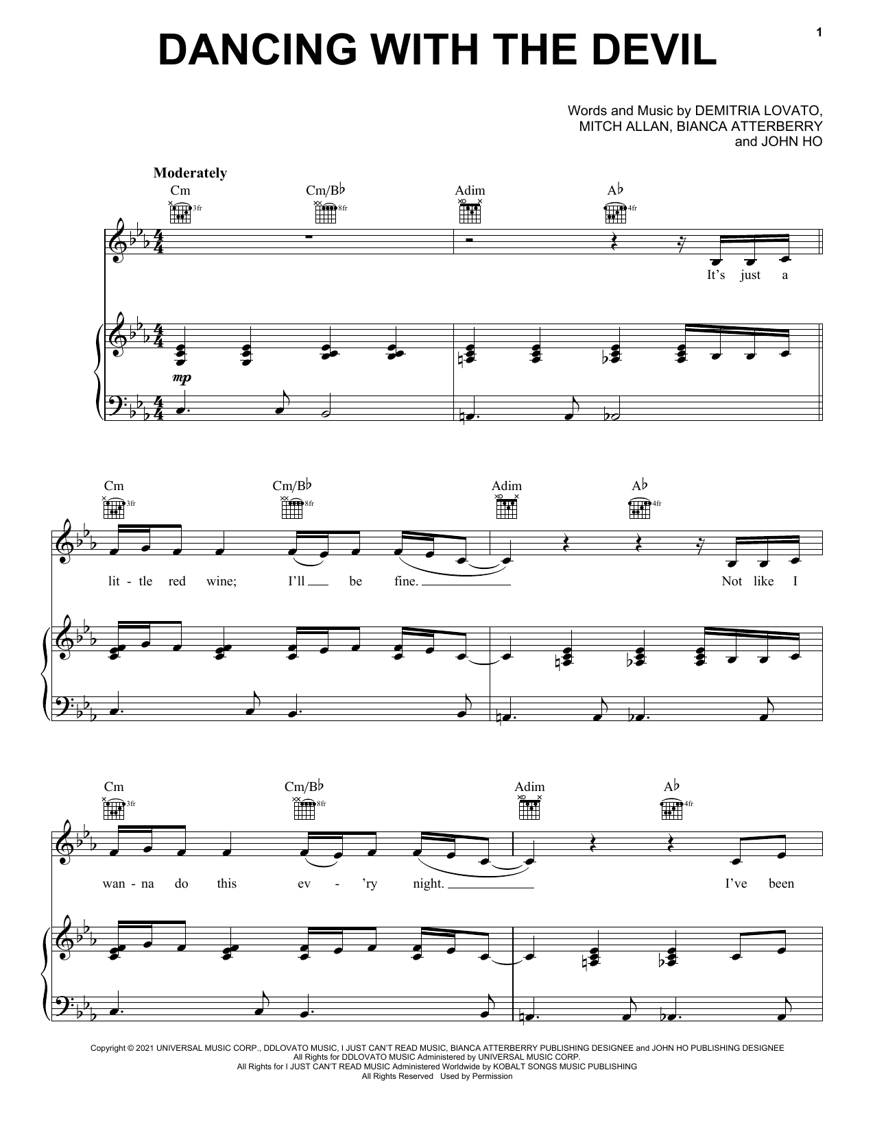 Demi Lovato Dancing With The Devil sheet music preview music notes and score for Piano, Vocal & Guitar (Right-Hand Melody) including 7 page(s)