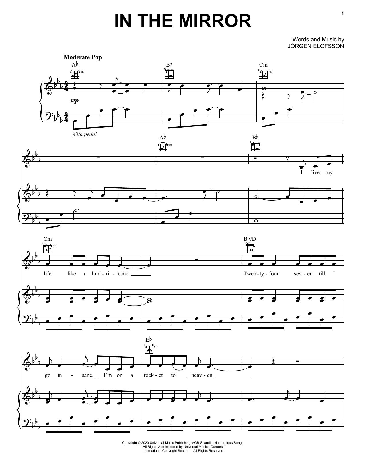 Demi Lovato In The Mirror (from Eurovision Song Contest: The Story of Fire Saga) sheet music notes and chords