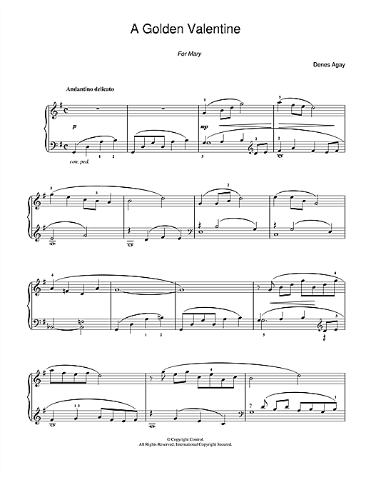Download Denes Agay 'A Golden Valentine (for Piano)' Digital Sheet Music Notes & Chords and start playing in minutes
