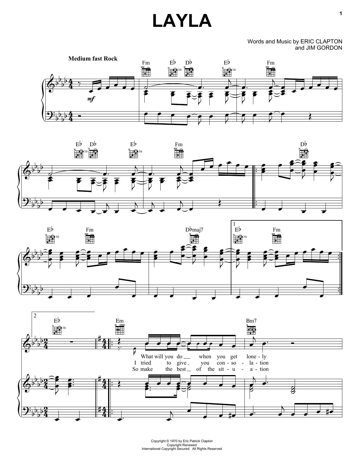 Derek And The Dominos Layla sheet music preview music notes and score for Easy Piano including 4 page(s)