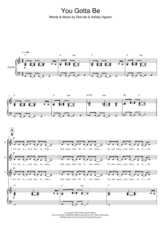 Download Des'ree 'You Gotta Be (arr. Mark De-Lisser)' Digital Sheet Music Notes & Chords and start playing in minutes