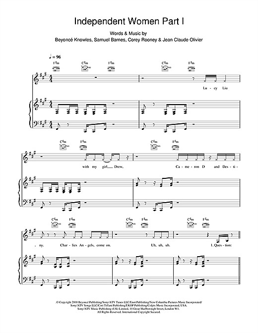 Destiny's Child Independent Women Part I sheet music notes and chords