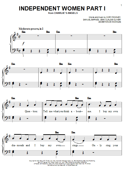 Destiny's Child Independent Women Part I (from Charlie's Angels) sheet music preview music notes and score for Easy Piano including 12 page(s)