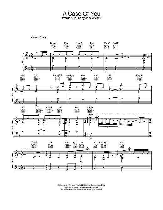 Diana Krall A Case Of You sheet music notes and chords