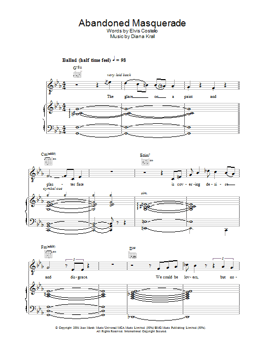 Diana Krall Abandoned Masquerade sheet music preview music notes and score for Piano, Vocal & Guitar including 9 page(s)