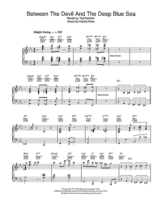 Download Diana Krall 'Between The Devil And The Deep Blue Sea' Digital Sheet Music Notes & Chords and start playing in minutes
