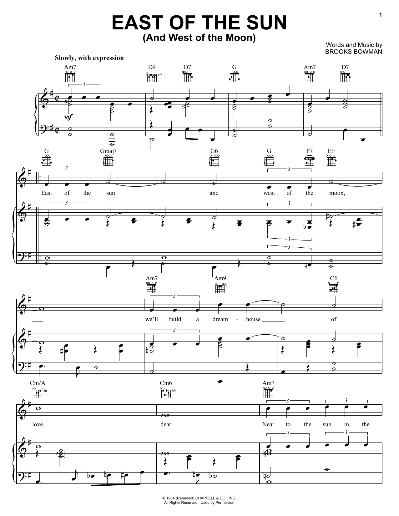 Diana Krall East Of The Sun (And West Of The Moon) sheet music notes and chords