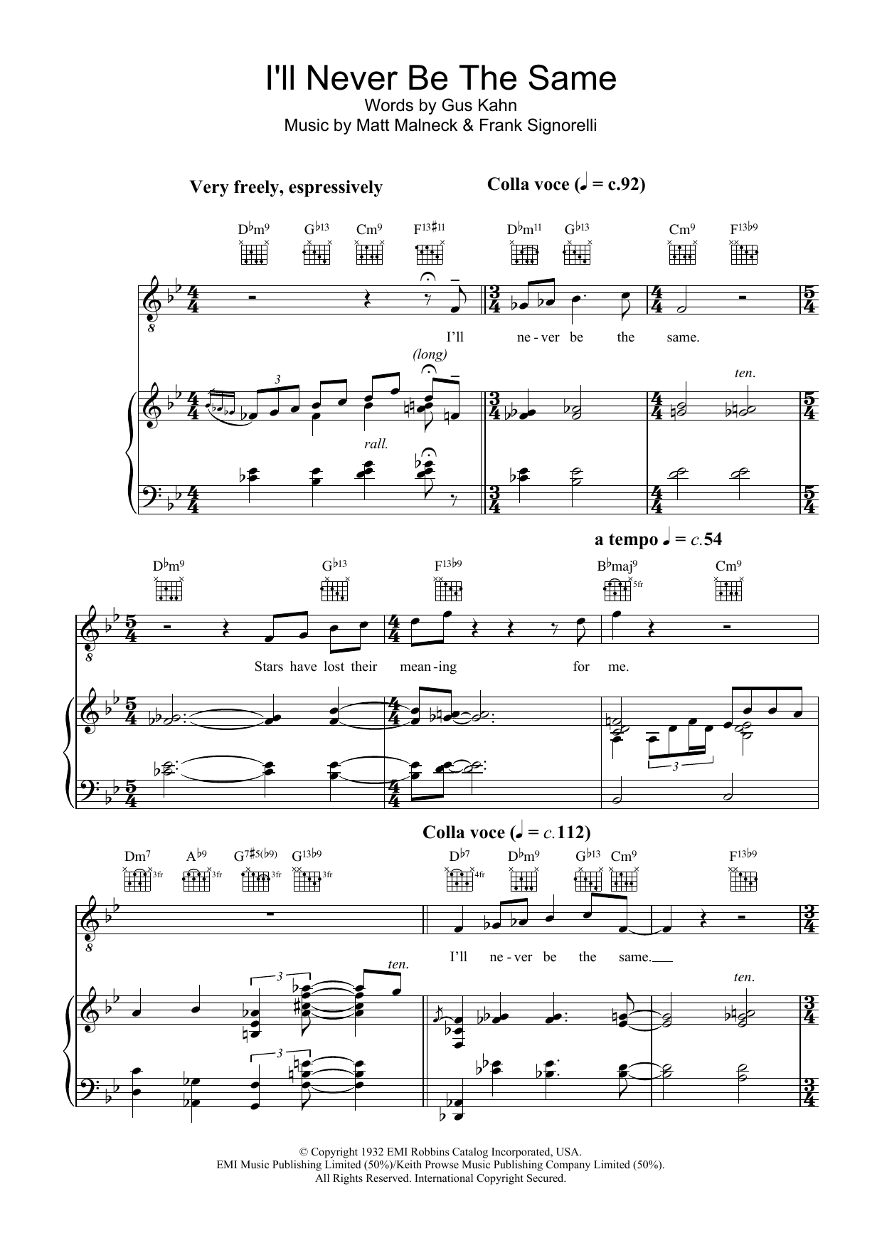 Diana Krall I'll Never Be The Same sheet music preview music notes and score for Piano, Vocal & Guitar including 8 page(s)
