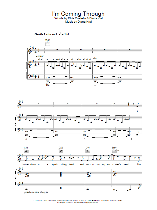Diana Krall I'm Coming Through sheet music preview music notes and score for Piano, Vocal & Guitar including 12 page(s)