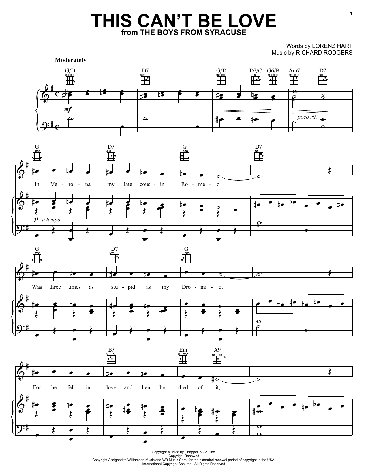 Diana Krall This Can't Be Love sheet music notes and chords
