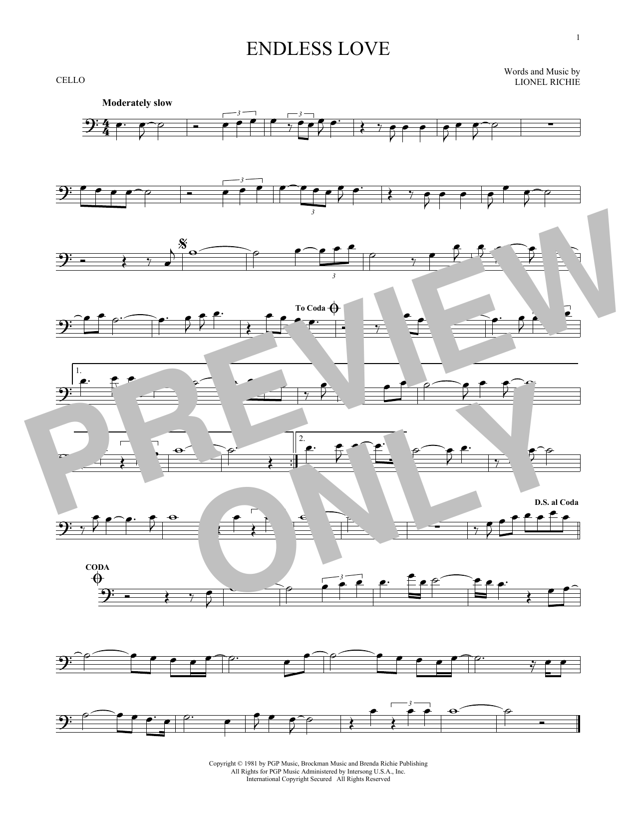 Diana Ross & Lionel Richie Endless Love sheet music preview music notes and score for French Horn including 1 page(s)
