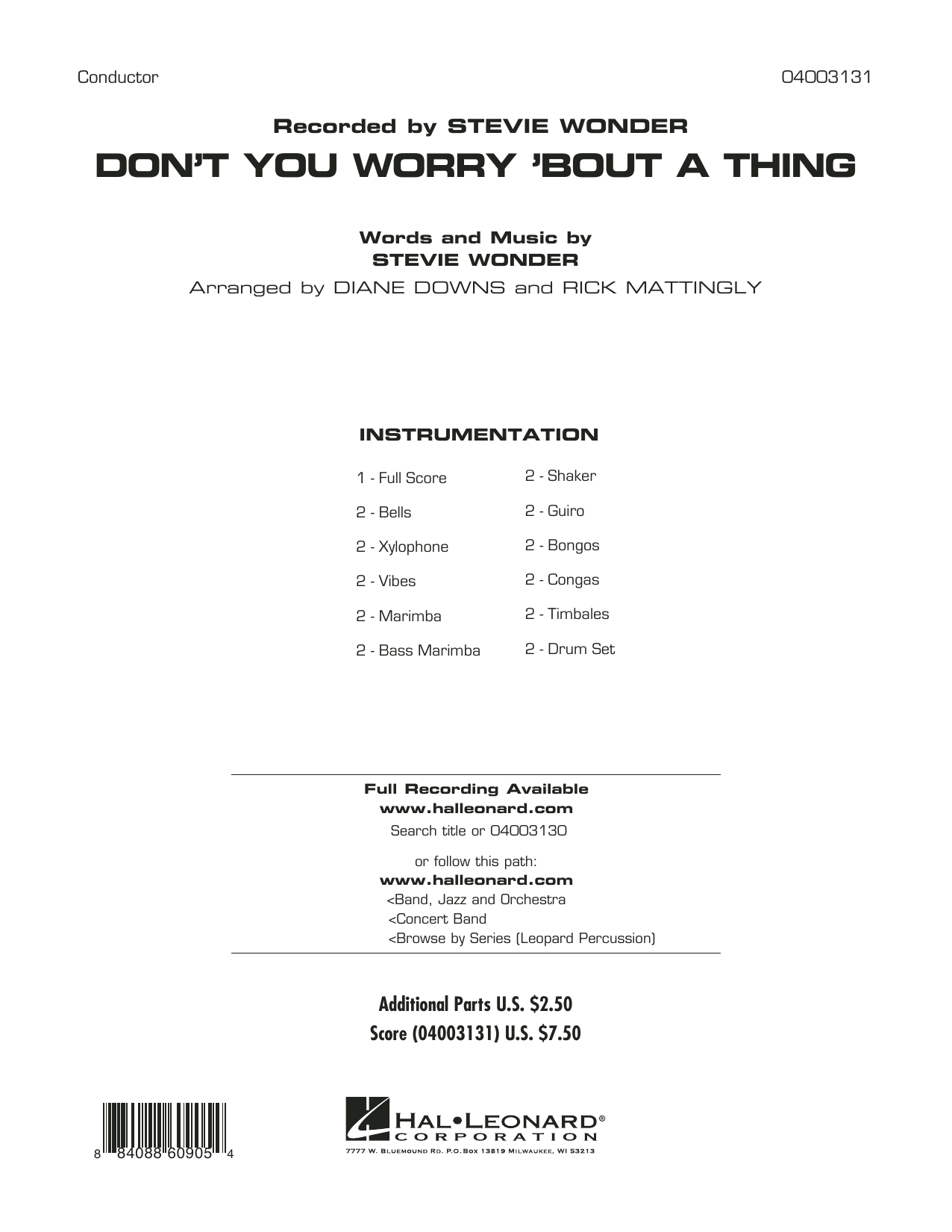 Diane Downs Don't You Worry 'Bout a Thing - Full Score sheet music preview music notes and score for Concert Band including 23 page(s)