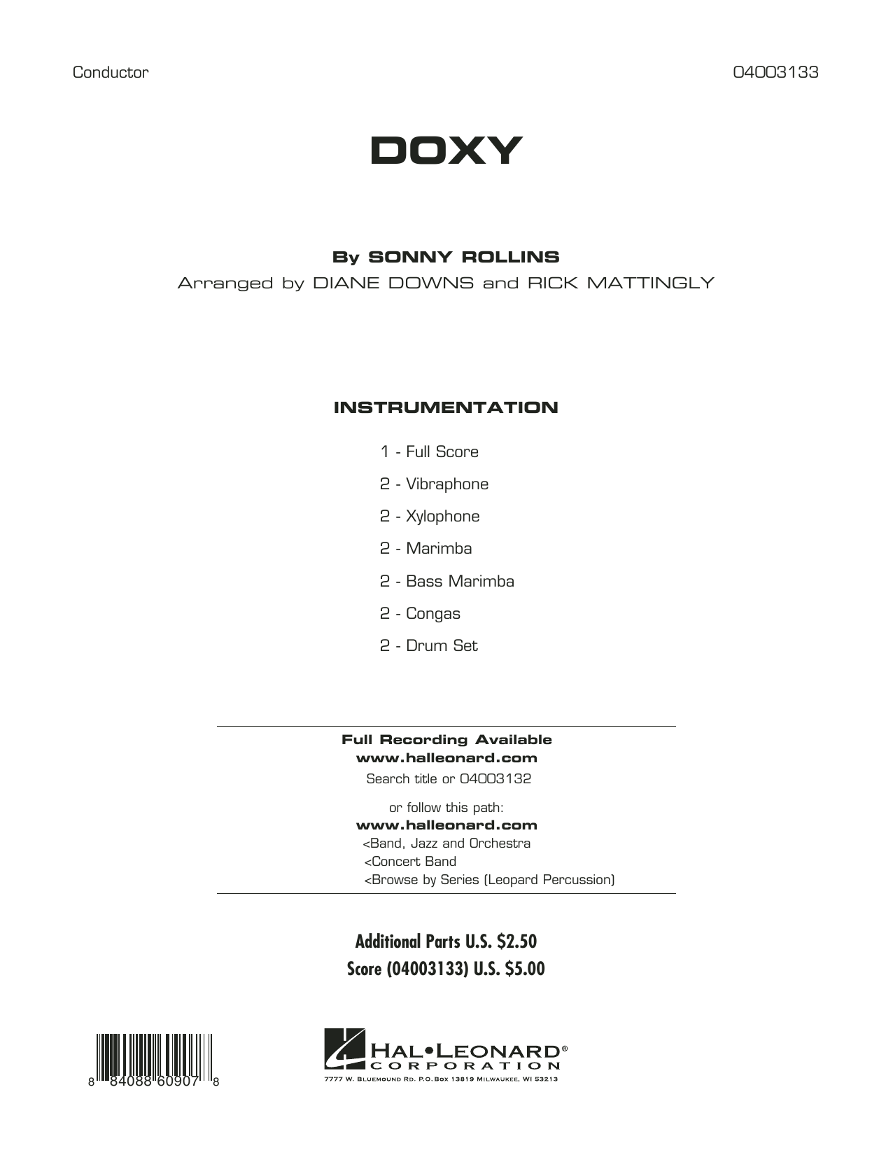 Diane Downs Doxy - Full Score sheet music preview music notes and score for Concert Band including 8 page(s)