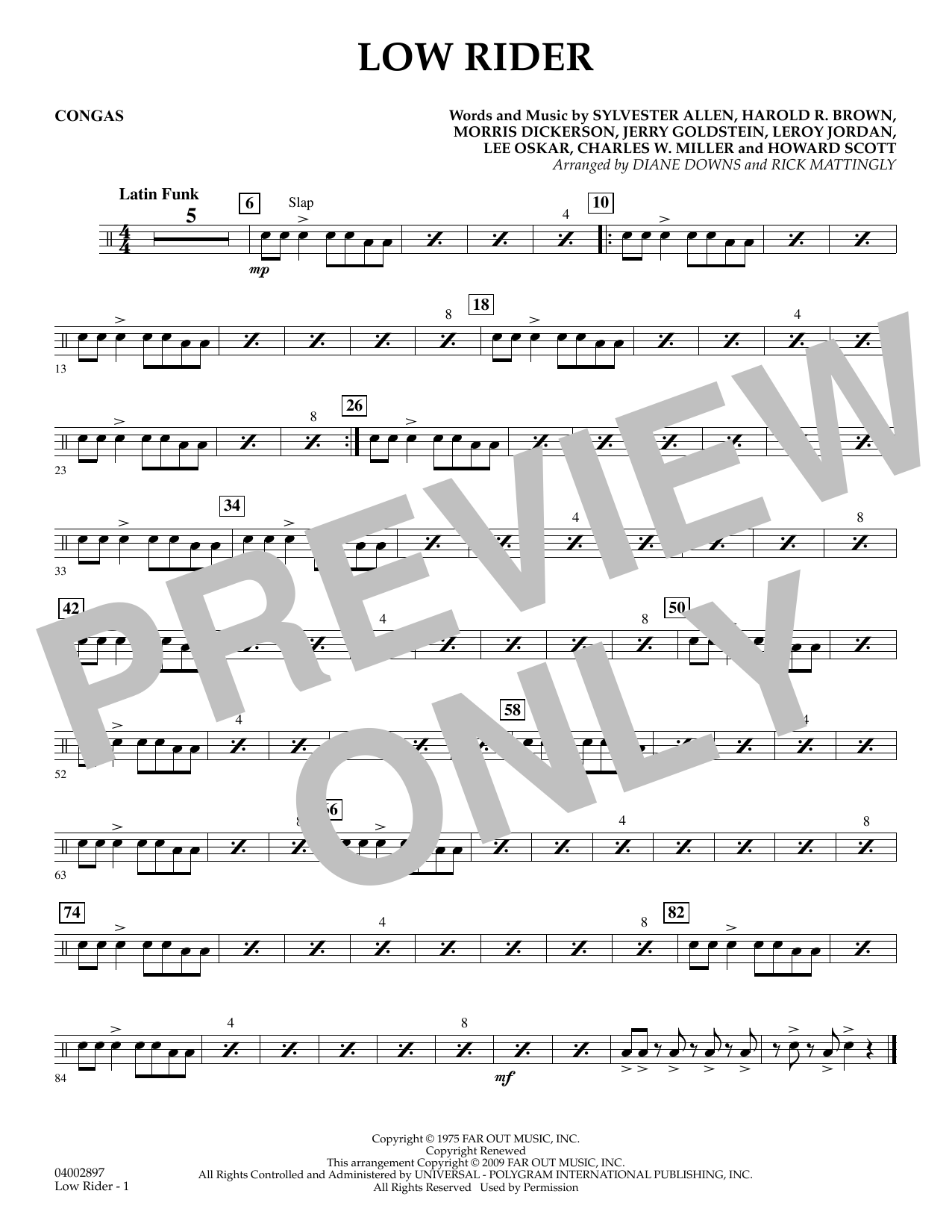 Diane Downs Low Rider - Congas sheet music preview music notes and score for Concert Band including 1 page(s)
