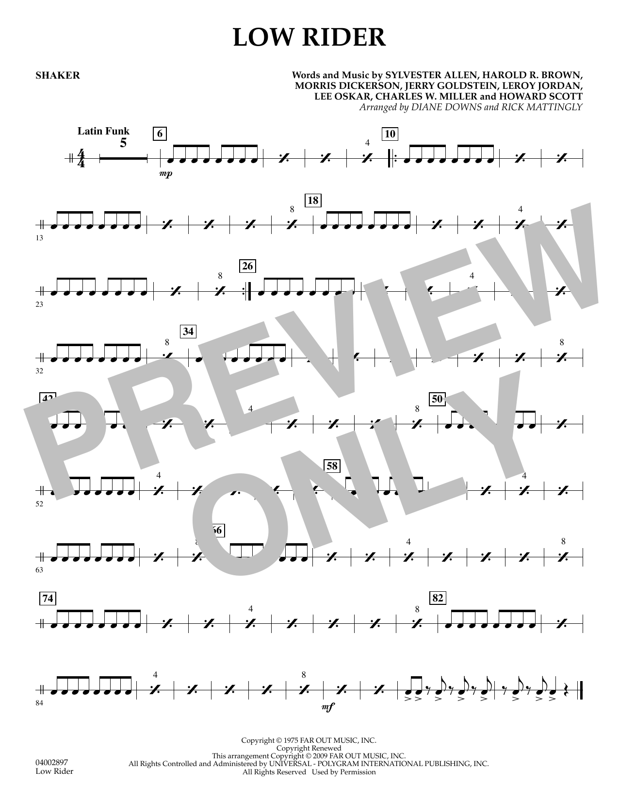Diane Downs Low Rider - Shaker sheet music preview music notes and score for Concert Band including 1 page(s)