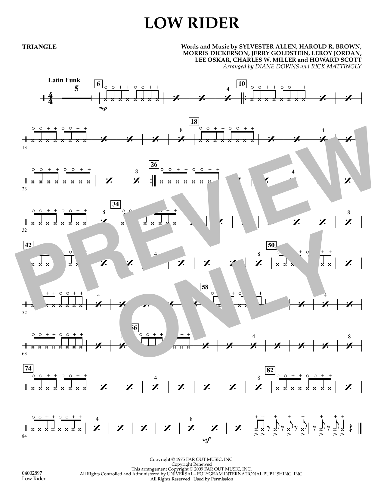 Diane Downs Low Rider - Triangle sheet music preview music notes and score for Concert Band including 1 page(s)