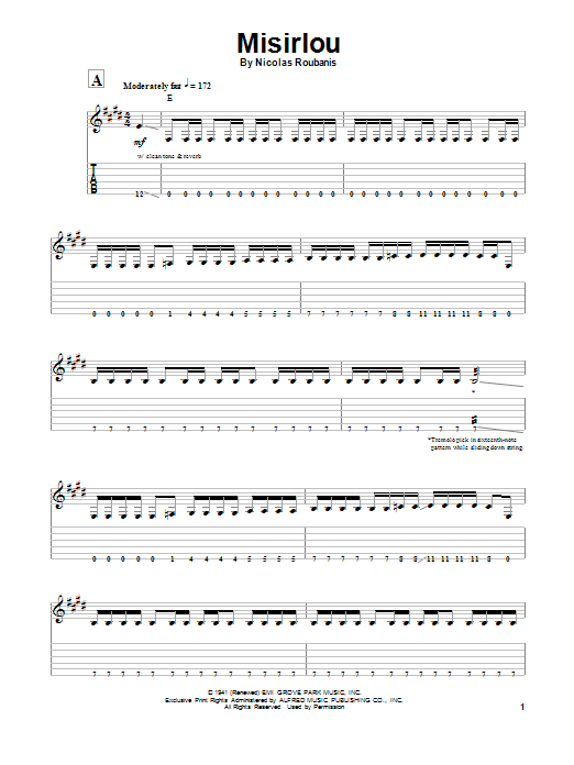 Dick Dale Misirlou sheet music preview music notes and score for Guitar Tab including 7 page(s)