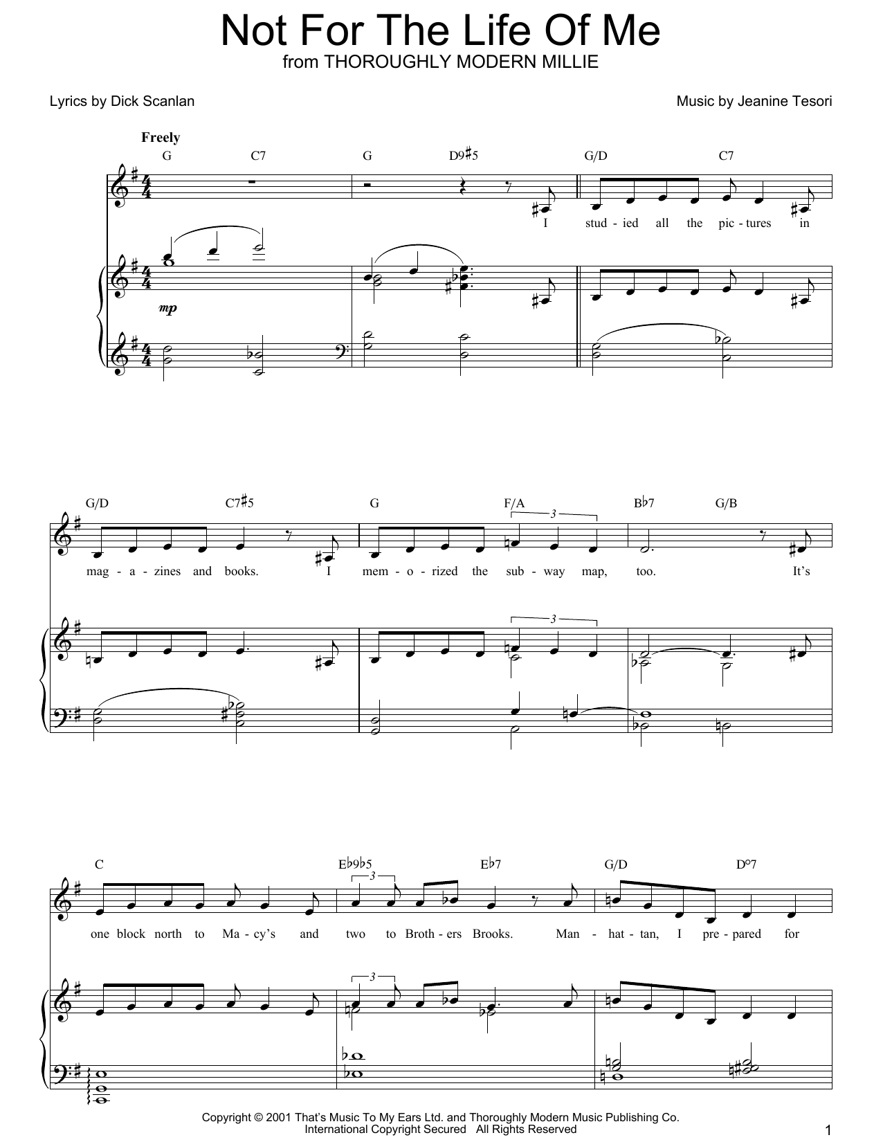 Dick Scanlan Not For The Life Of Me sheet music preview music notes and score for Piano, Vocal & Guitar (Right-Hand Melody) including 6 page(s)