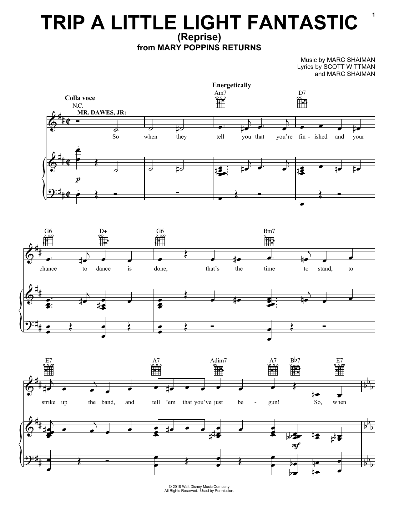 Dick Van Dyke & Company Trip A Little Light Fantastic (Reprise) (from Mary Poppins Returns) sheet music preview music notes and score for Piano, Vocal & Guitar (Right-Hand Melody) including 3 page(s)