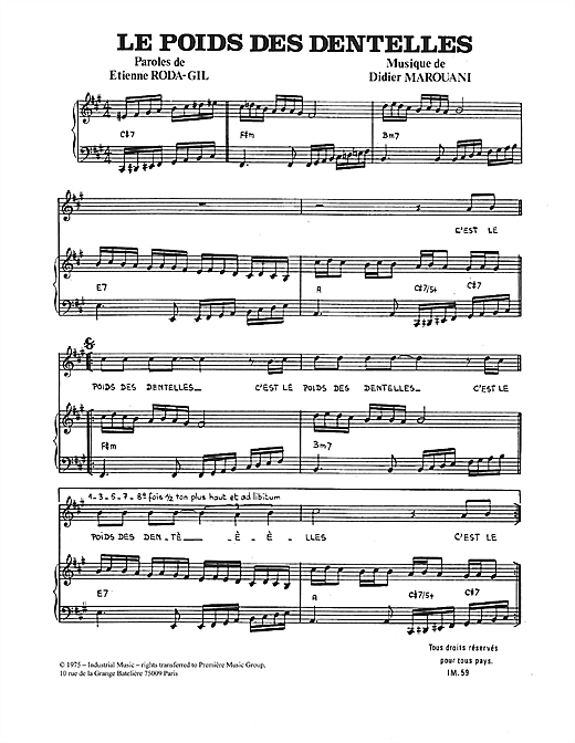 Didier Marouani Le Poids Des Dentelles sheet music notes and chords