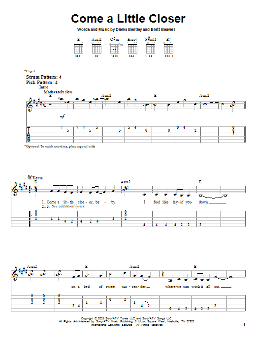 Dierks Bentley Come A Little Closer sheet music preview music notes and score for Easy Guitar Tab including 4 page(s)