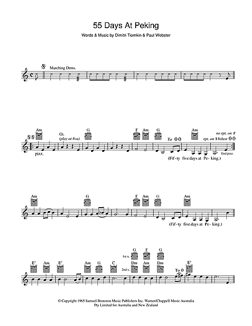 Dimitri Tiomkin 55 Days At Peking sheet music preview music notes and score for Melody Line, Lyrics & Chords including 2 page(s)
