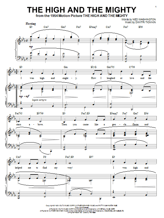Download Dimitri Tiomkin 'The High And The Mighty' Digital Sheet Music Notes & Chords and start playing in minutes