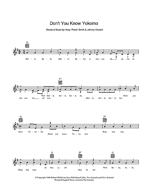 Dinah Lee Don't You Know Yokomo sheet music preview music notes and score for Melody Line, Lyrics & Chords including 2 page(s)